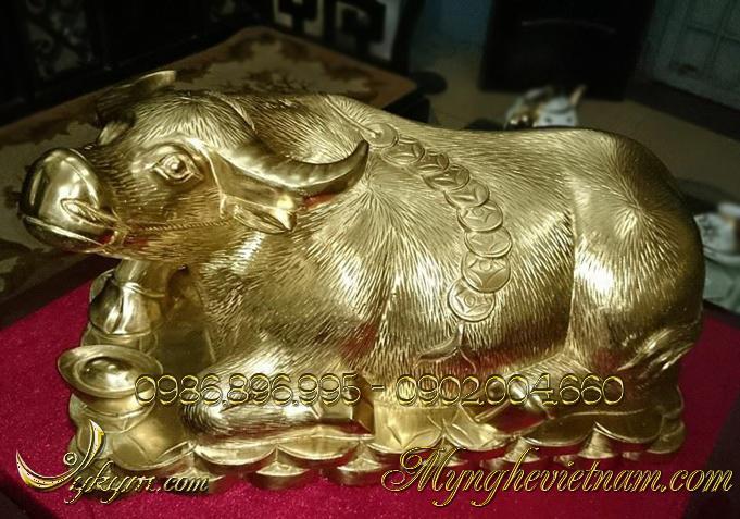 Tượng trâu đồng vàng nguyên chất dài 35cm0