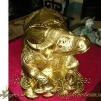 tượng trâu đồng vàng đẹp 3