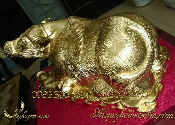 tượng trâu đồng vàng đẹp 4