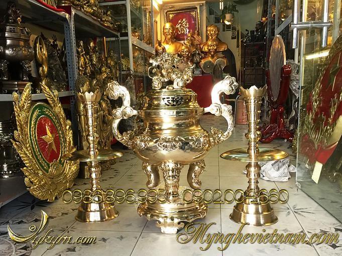 đỉnh đồng thờ cúng cao cấp làng nghề đánh vàng bóng
