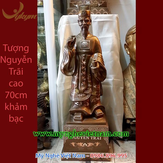Tượng Nguyễn Trãi khảm bạc tam khí cao 68cm0