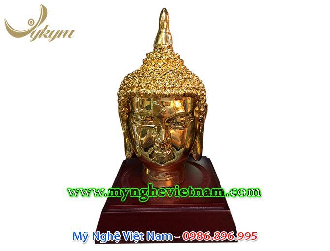 Tượng đầu phật bằng đồng mạ vàng cao 15cm0
