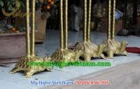 hạc đồng thờ cúng ngậm sen đứng rùa cung tiến bằng đồng 2