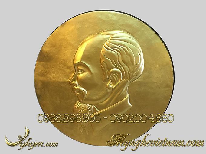 phù điêu chủ tịch hồ chí minh, chân dung bác hồ bằng đồng 1