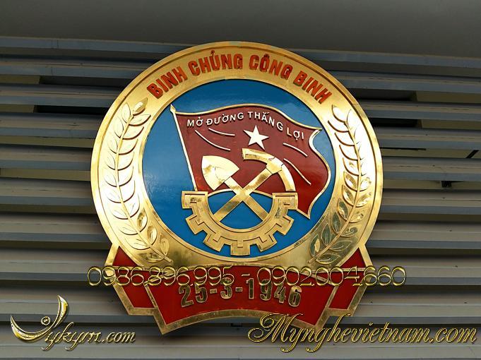 Logo huy hiệu binh chủng công binh quân đội bằng đồng0
