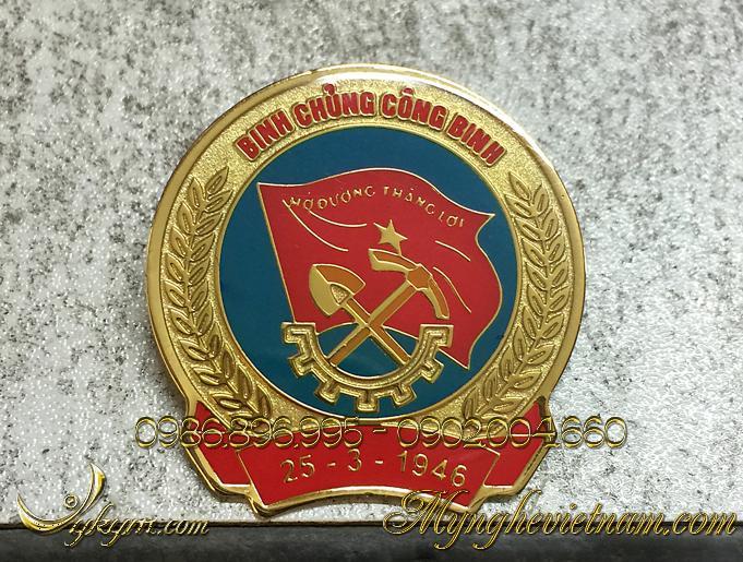 logo huy hiệu binh chủng công binh, quân đội hiệu bằng đồng 1