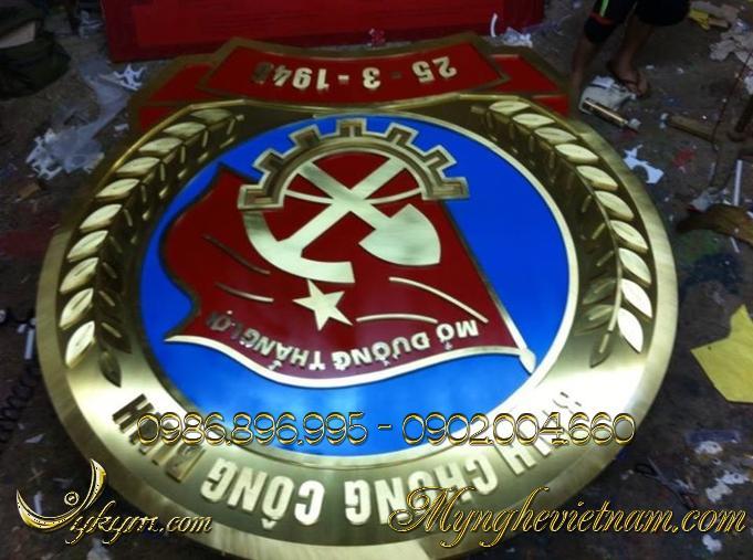 logo huy hiệu binh chủng công binh, quân đội hiệu bằng đồng 3