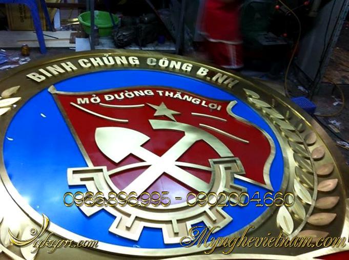 logo huy hiệu binh chủng công binh, quân đội hiệu bằng đồng 4