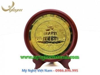 đĩa quà tặng lưu niệm tháp rùa hồ gươm ăn mòn đồng