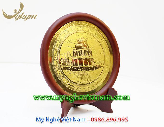 đĩa quà tặng lưu niệm tháp rùa hồ gươm ăn mòn đồng 2