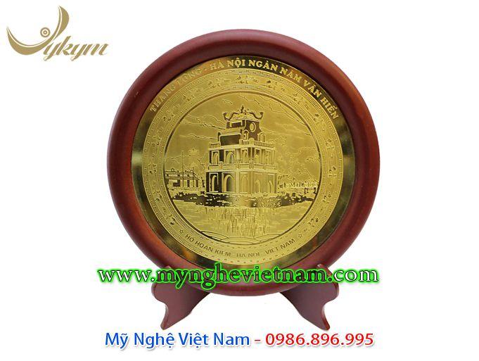 đĩa quà tặng lưu niệm tháp rùa hồ gươm ăn mòn đồng 3