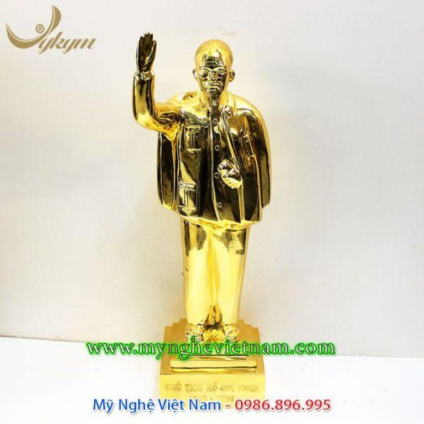 tượng bác hồ vẫy tay chào 52cm mạ vàng 18k