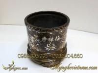 bát hương đồng khảm bạc tam khí 20cm rồng chầu mặt nguyệt