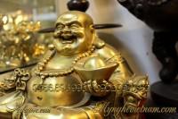 tượng phật di lặc bằng đồng ngồi ngai rồng dâng tiền vàng