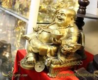 tượng phật di lặc bằng đồng ngồi ngai rồng bê thỏi vàng