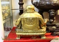 tượng phật di lặc bằng đồng ngồi ngai rồng chữ phúc