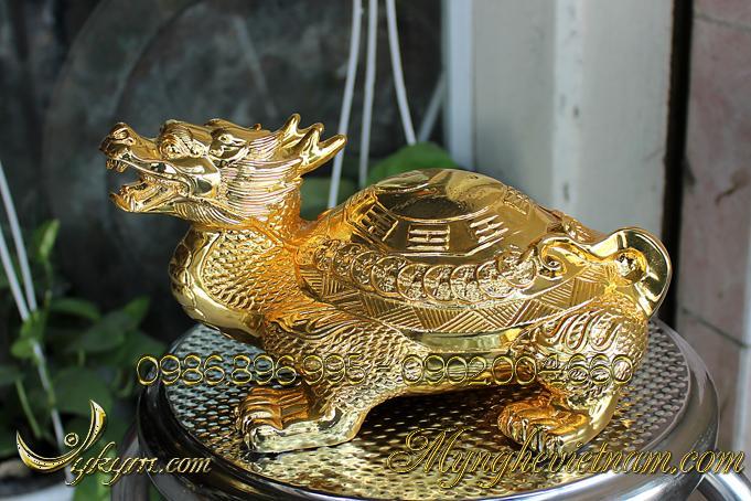 rùa đầu rồng long quy lưng bát quái lưng tiền mạ vàng