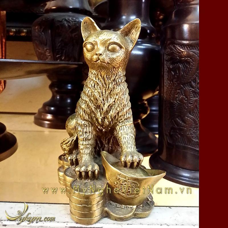 Tượng mèo đồng phong thủy ngồi tiền cao 18cm0