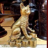 tượng mèo đồng ngồi tiền phong thủy, tượng mèo phong thủy 1