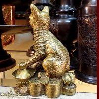 tượng mèo đồng ngồi tiền phong thủy, tượng mèo phong thủy 2