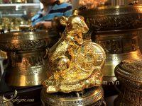 tượng chuột đồng mạ vàng cao 10cm