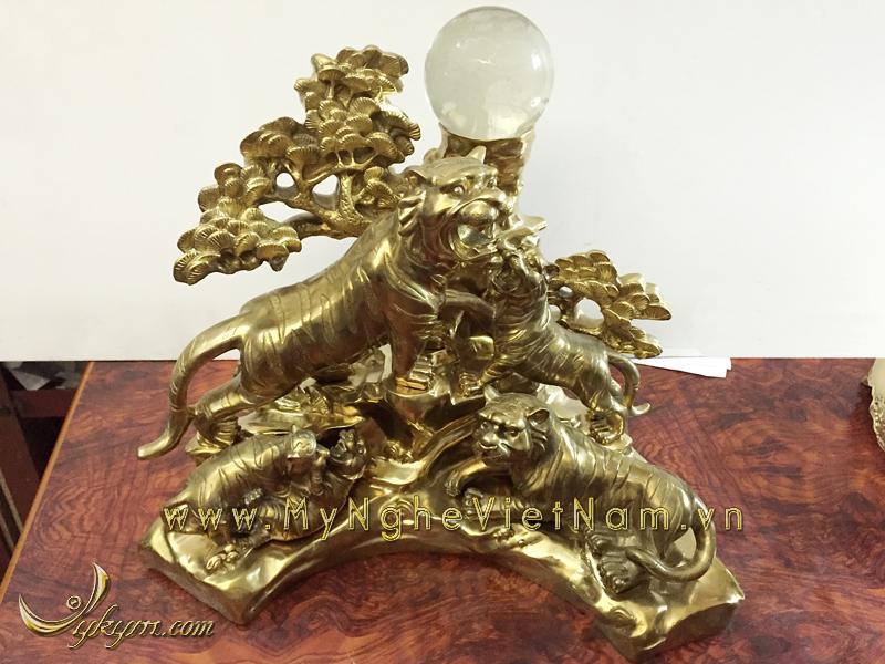 Tượng ngũ hổ bằng đồng cao cấp, tượng đàn hổ trang trí nội thất0