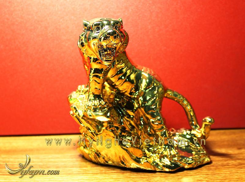 Tượng hổ đồng phong thủy mạ vàng cao 16cm0