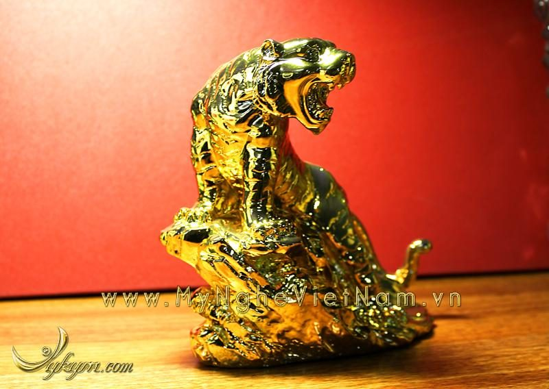 tượng hổ đồng phong thủy mạ vàng 1