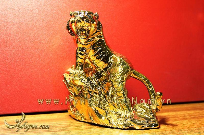 tượng hổ đồng phong thủy mạ vàng 2