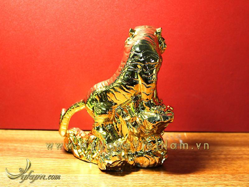tượng hổ đồng phong thủy mạ vàng 3