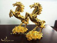 tượng ngựa đồng mạ vàng 24k cao cấp