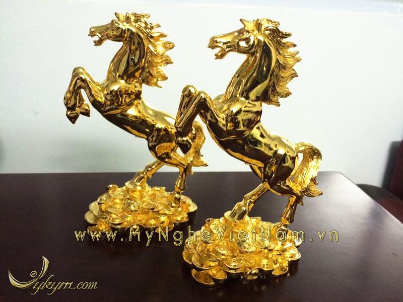 Tượng ngựa đồng mạ vàng 24k cao cấp0