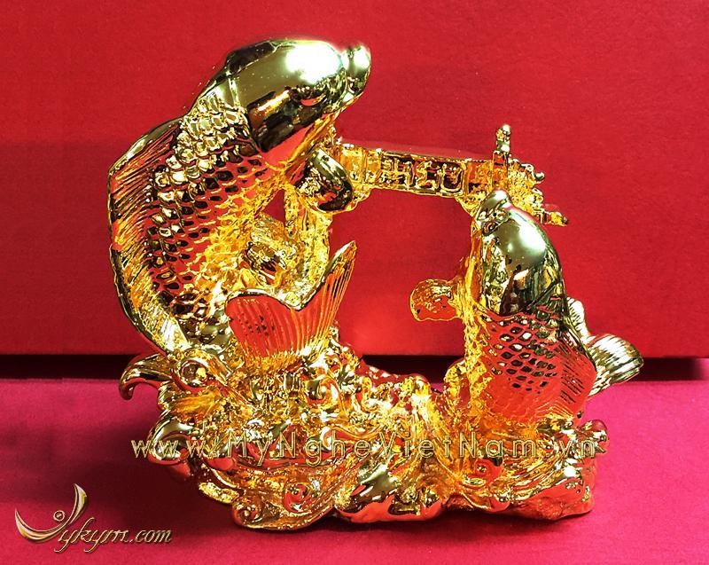 Tượng cá chép vượt vũ môn hóa rồng bằng đồng mạ vàng 12cm0