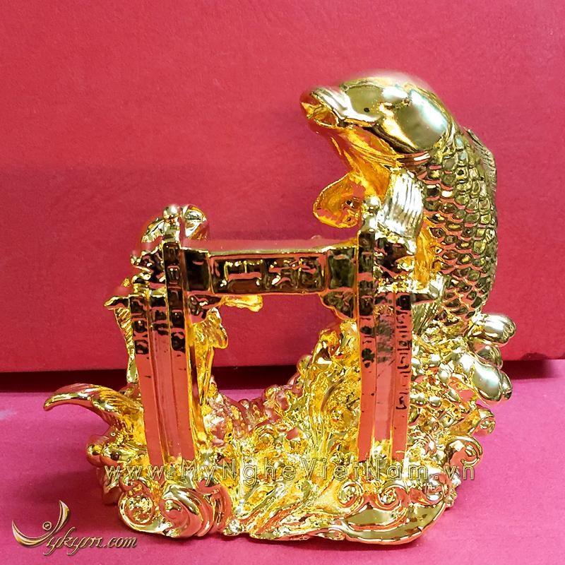 tượng cá chép vượt vũ môn, cá chép hóa rồng mạ vàng 12cm 3