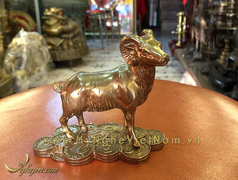 tượng 12 con giáp bằng đồng, tượng dê đồng 2
