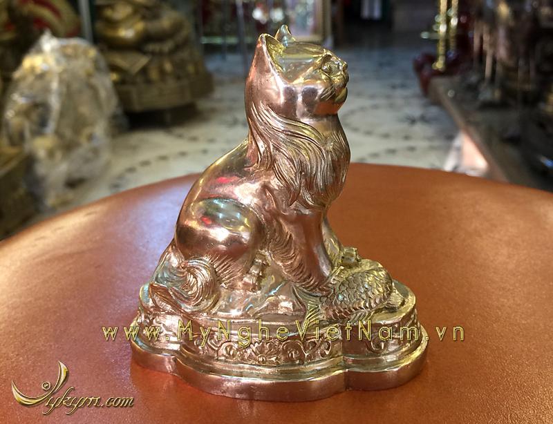 tượng mèo đồng 12 con giáp phong thủy 9cm