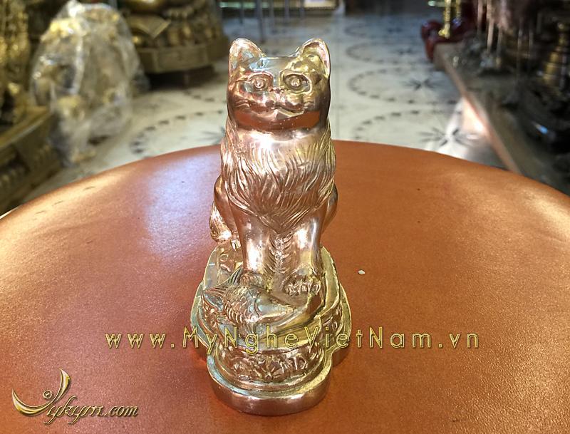 tượng mèo đồng 12 con giáp phong thủy 9cm 2