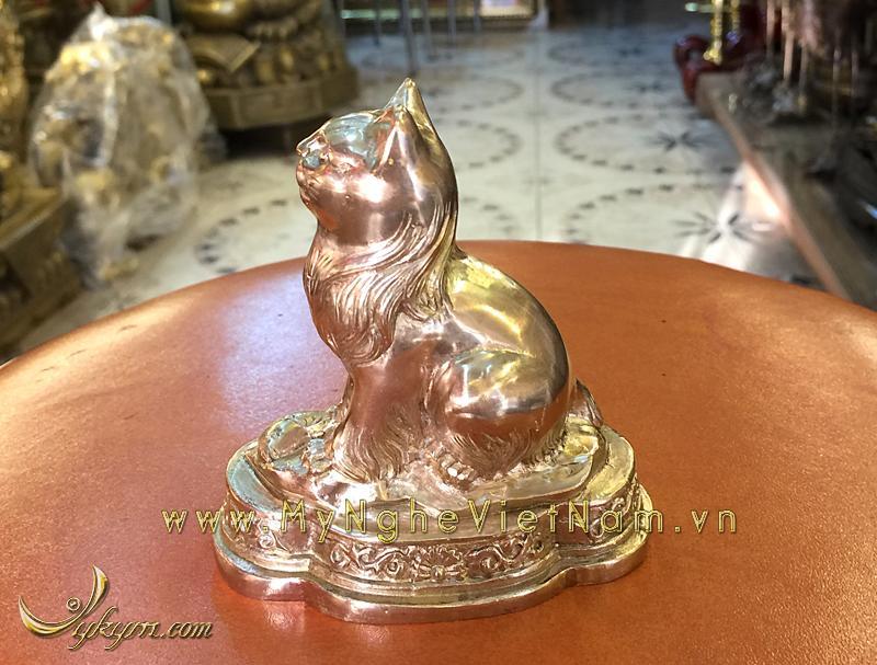 tượng mèo đồng 12 con giáp phong thủy 9cm 3