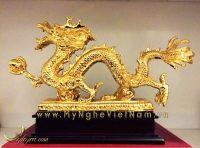 tượng rồng phong thủy bằng đồng mạ vàng 24k