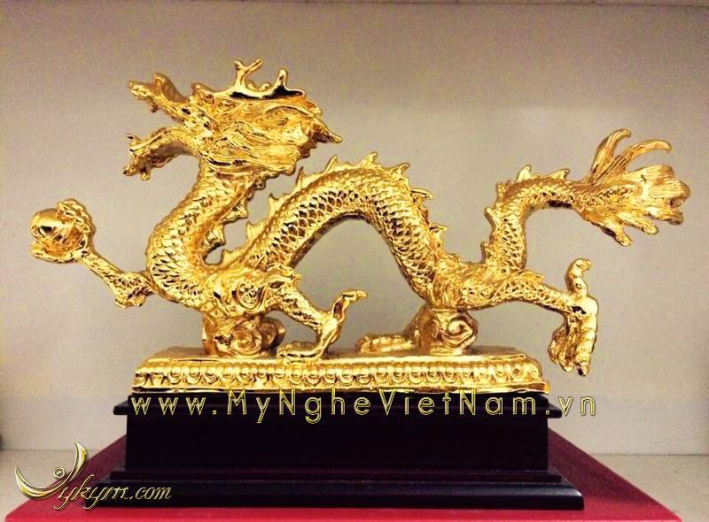 Tượng rồng phong thủy bằng đồng mạ vàng 24k0