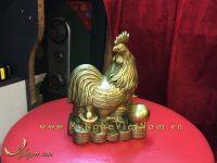bộ 12 con giáp, con vật phong thủy bằng đồng, con gà ngồi tiền