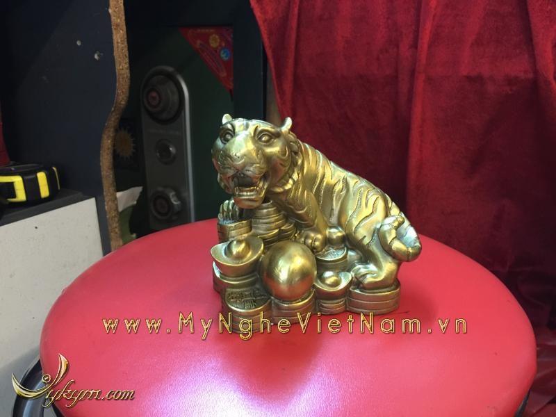 bộ 12 con giáp, con vật phong thủy bằng đồng, con hổ ngồi tiền