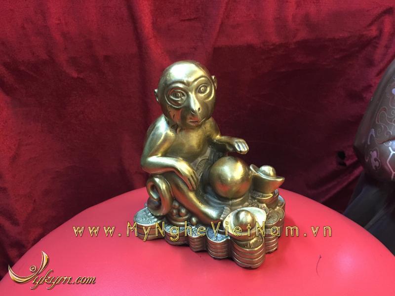 bộ 12 con giáp, con vật phong thủy bằng đồng, con khỉ ngồi tiền