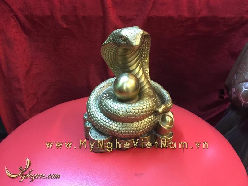 bộ 12 con giáp, con vật phong thủy bằng đồng, con rắn ngồi tiền