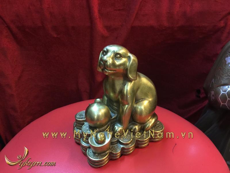 bộ 12 con giáp, con vật phong thủy bằng đồng, con chó tuất ngồi tiền