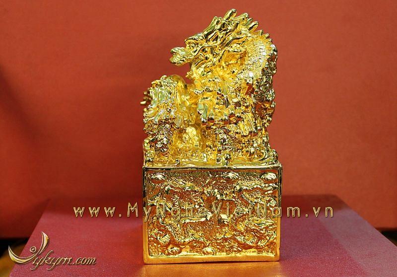ấn đồng phong thủy, ấn cửu long thăng quan phát tài mạ vàng 9999 24k