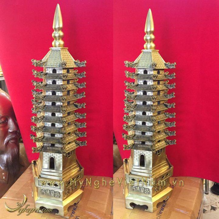 tháp văn xương 9 tầng bằng đồng cao 60cm