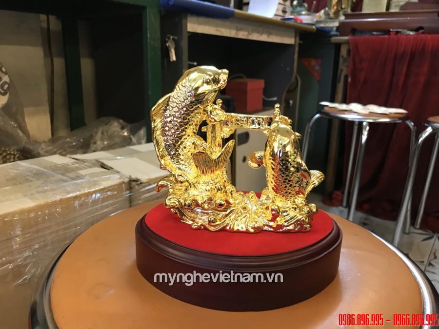 tượng cá chép hóa rồng mạ vàng cao cấp làm quà tặng đối tác