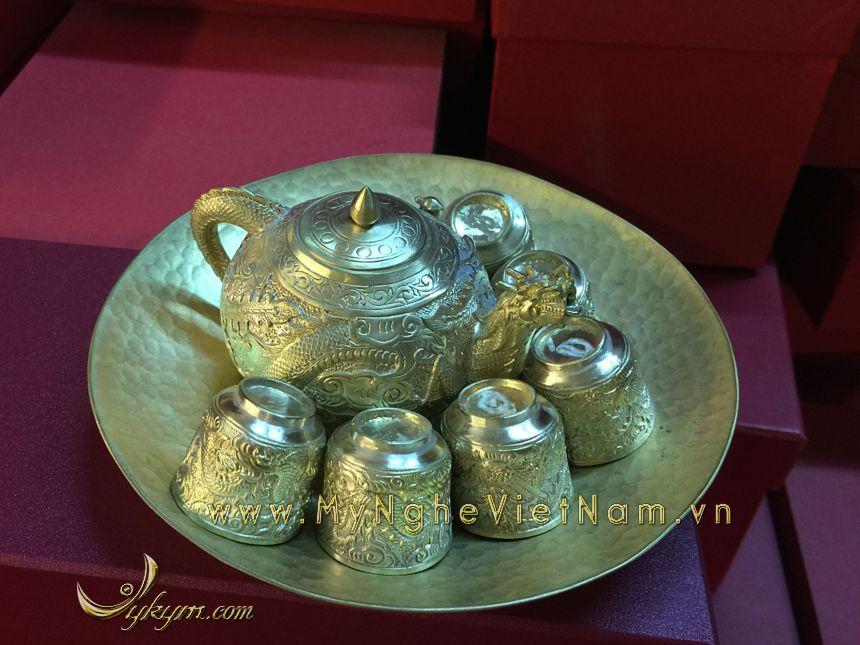 bộ ấm chén bằng đồng nguyên chất làm quà tặng cao cấp
