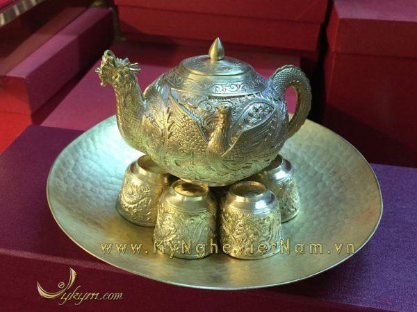 ấm chén đồng, bộ ấm chén bằng đồng nguyên chất làm quà tặng cao cấp